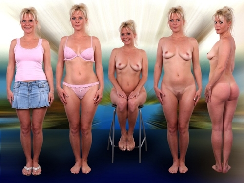 服を着てる時とヌードを並べた西洋素人女性の比較画像 12