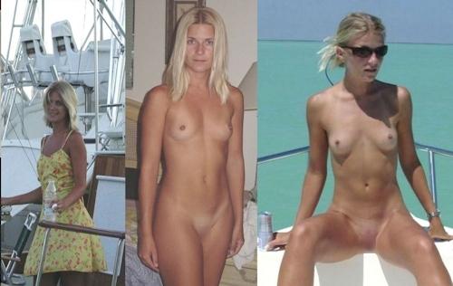 服を着てる時とヌードを並べた西洋素人女性の比較画像 17