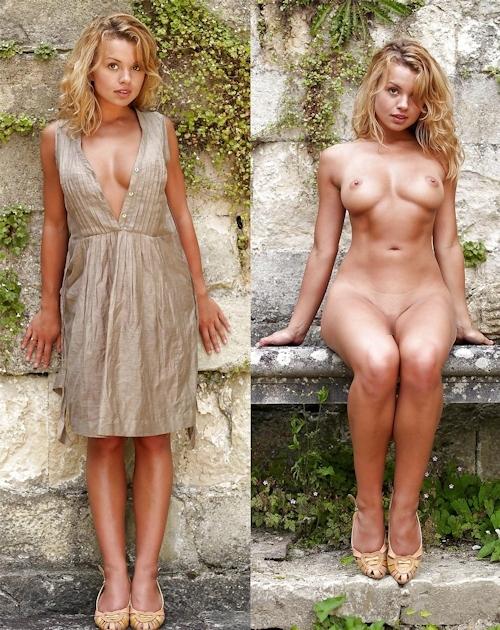 服を着てる時とヌードを並べた西洋素人女性の比較画像 25