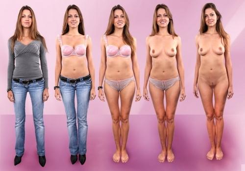 服を着てる時とヌードを並べた西洋素人女性の比較画像 7