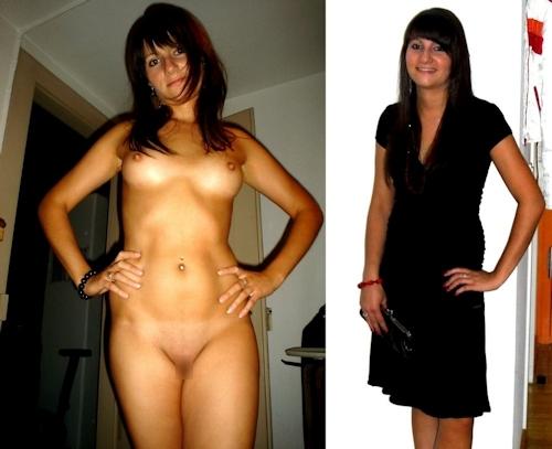 服を着てる時とヌードを並べた西洋素人女性の比較画像 9