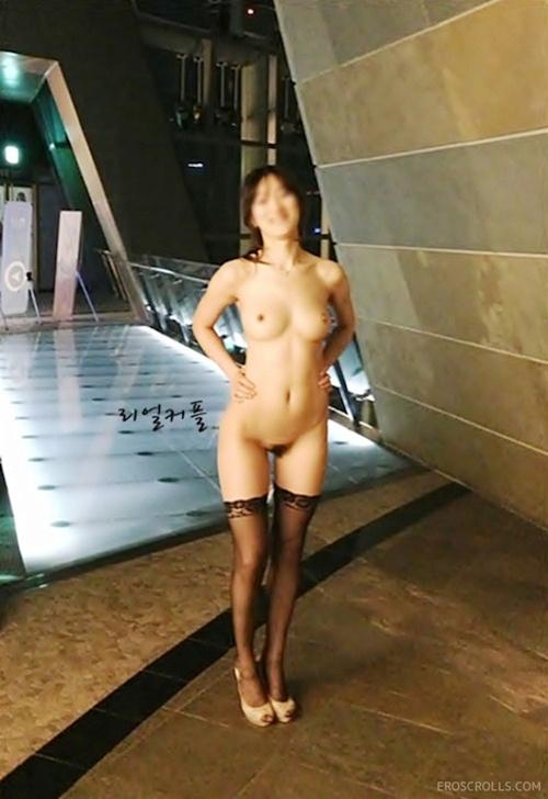 韓国素人美女の野外露出ヌード画像 7