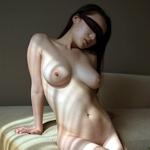 巨乳女性の目隠しヌード画像