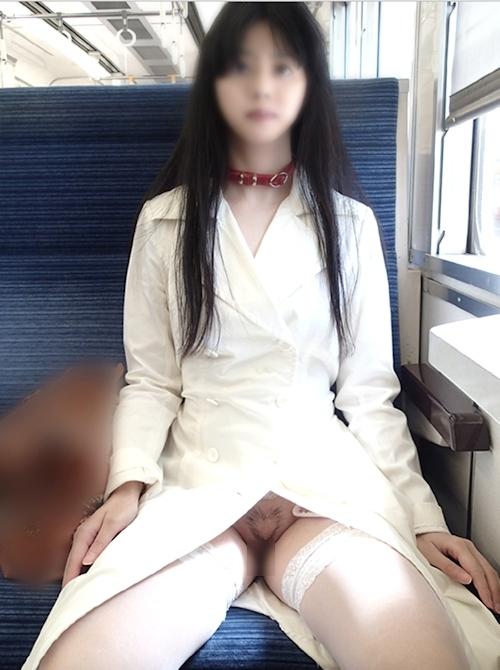 陰毛をハート型にカットした美微乳美少女が電車内で露出プレイしてるヌード画像 2