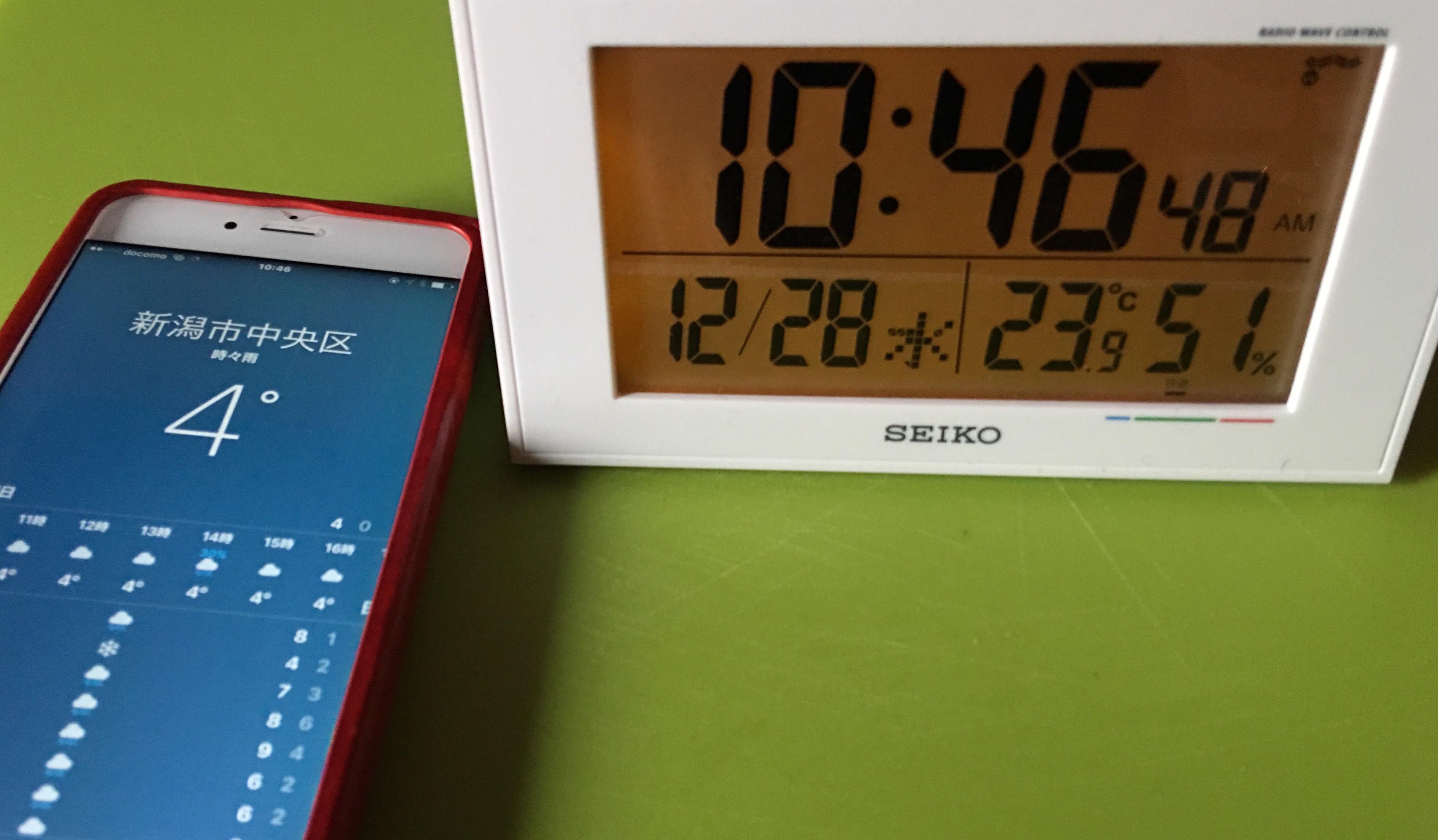 年末の室内温度