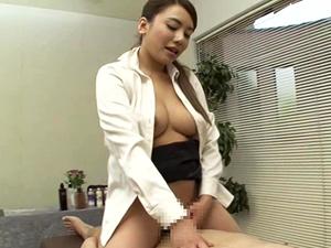 松本メイ 美人エステ嬢が巨乳を押しつけ常に乳首を刺激しながらチンポ責めしてくれるM男専用エステ