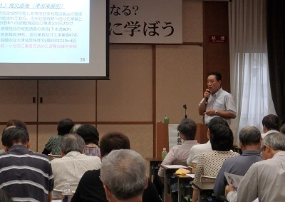 講演の由井さん。 64kb