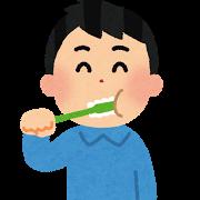 歯を磨いている男性