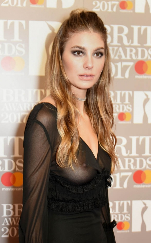 Camila Morrone See Through Braless BRIT awards 2017