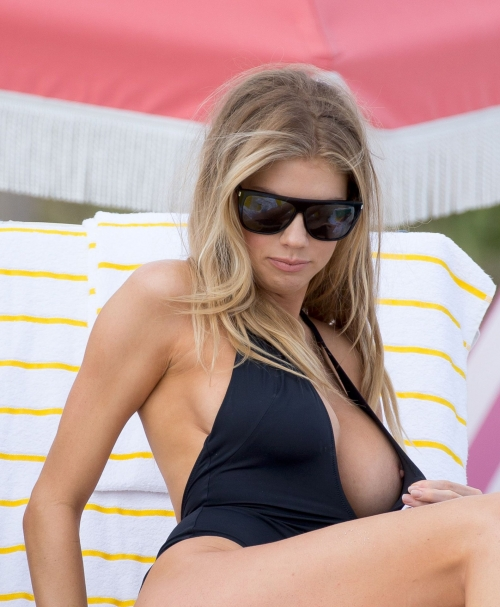 Charlotte Mckinney Nipslip – Bikini Candids in Miami
