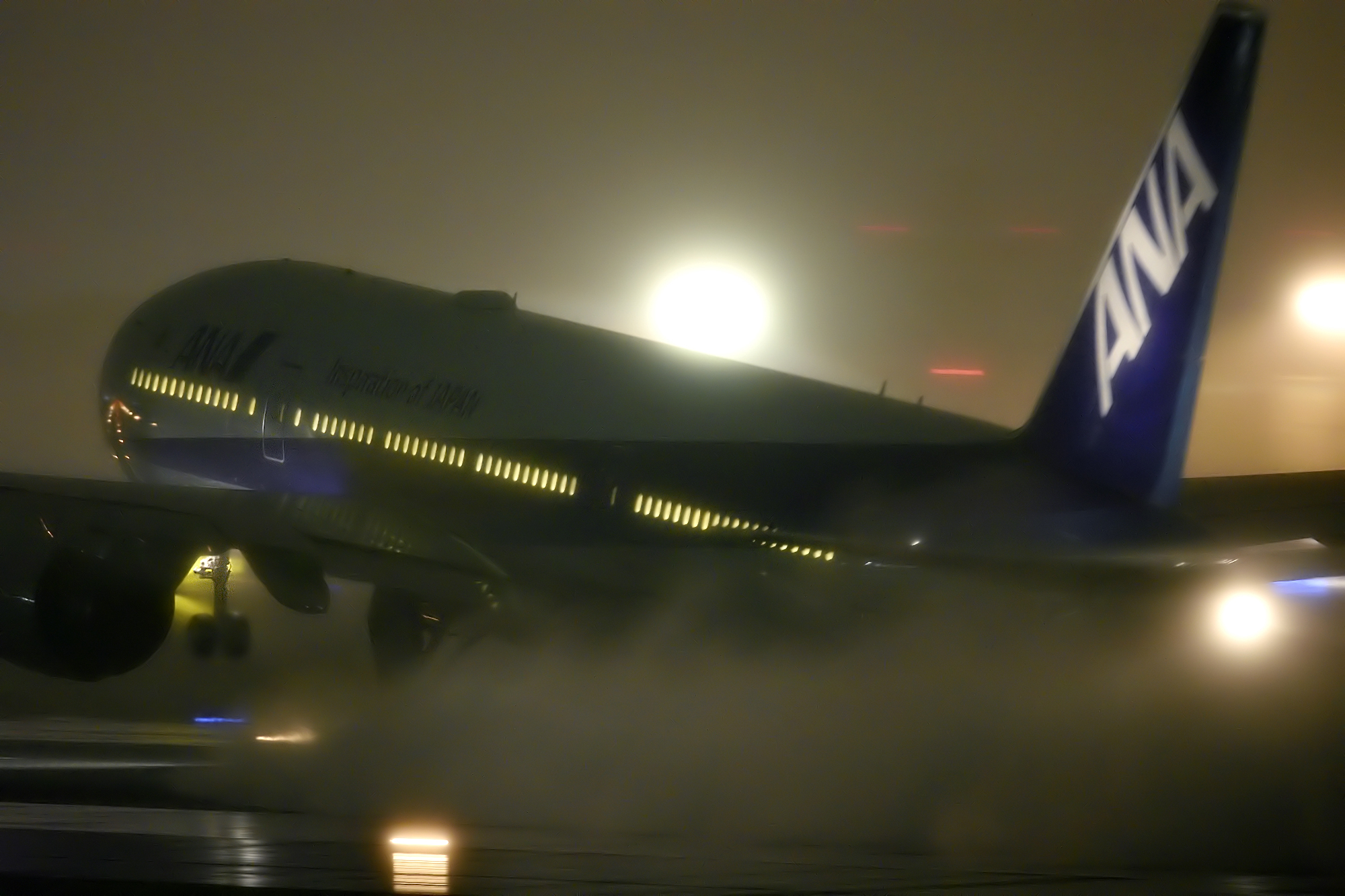豪雨の離陸
