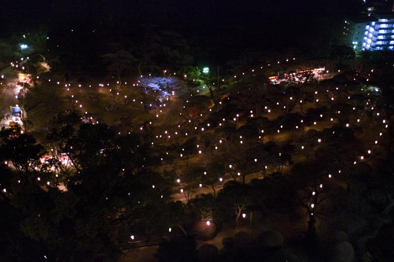 八幡山公園のぼんぼり夜景