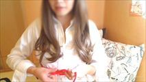 自撮り 赤い縄で自縛してみました