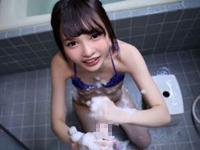 跡美しゅり M男いじめが大好きなパイパン痴女娘がイチャラブ洗体手コキ!