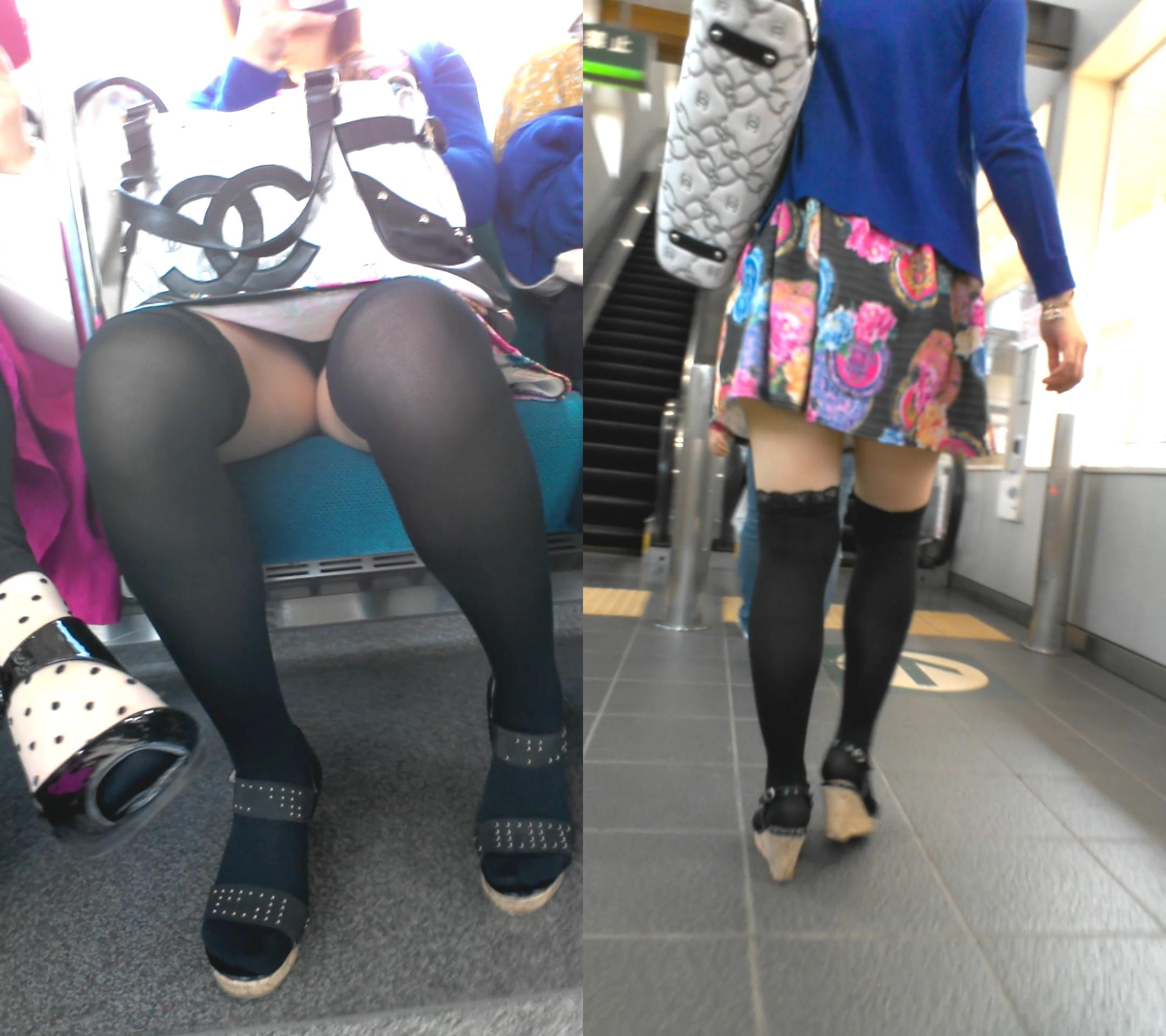 (ラッキーパンツ丸見え)列車で正面に座ってる女のパンツがチラチラ見えてるんだが