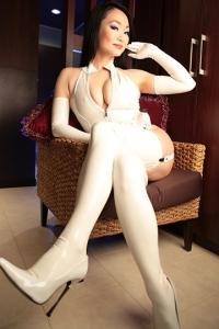 白エナメルガーターセット(写真のエナメルストッキングVer)※白ハイヒール忘れたのでありません