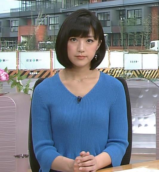 竹内由恵 胸のふくらみがくっきりのニットおっぱいキャプ画像(エロ・アイコラ画像)