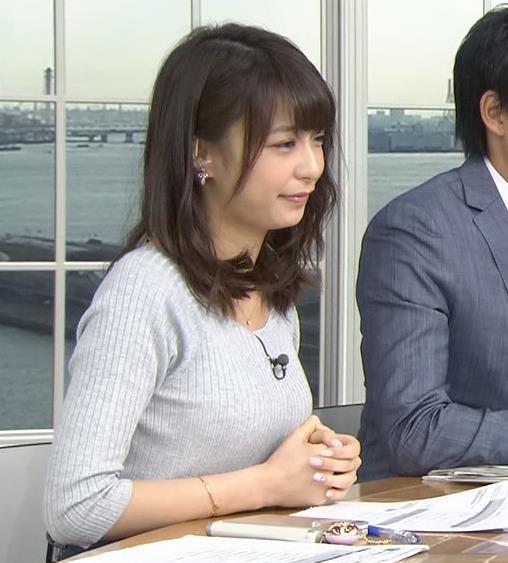 宇垣美里 久しぶり巨乳が強調されたニットを着てたキャプ画像(エロ・アイコラ画像)
