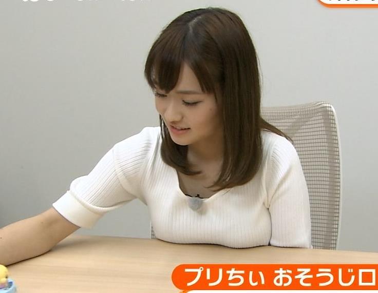 篠原梨菜 おっぱいを机の上にのせる。(めざましテレビアクア)キャプ画像(エロ・アイコラ画像)