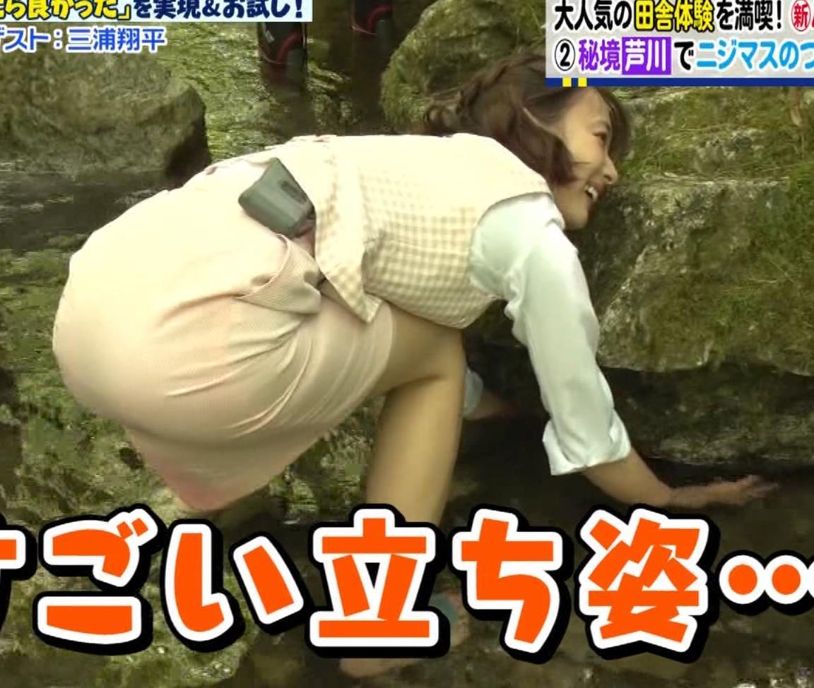 岡田紗佳 タイトミニスカートでお尻を突き出すキャプ画像(エロ・アイコラ画像)