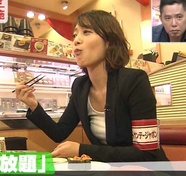 吉田明世アナ 谷間チラ・疑似フェラ!エロい食レポ