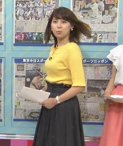 上村彩子 デカいニット横乳キャプ画像(エロ・アイコラ画像)