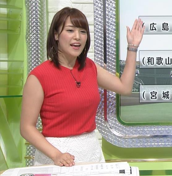 鷲見玲奈 赤いノースリーブキャプ画像(エロ・アイコラ画像)
