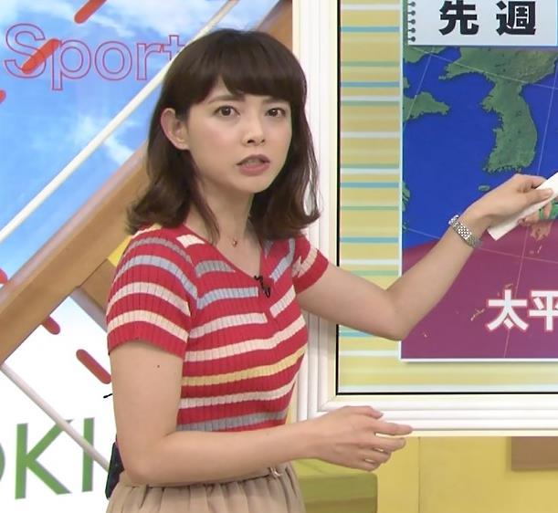 尾崎朋美 美人気象予報士のニット横乳キャプ画像(エロ・アイコラ画像)