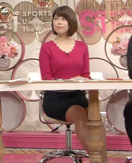 上村彩子 机の下のミニスカ太ももが太め。キャプ画像(エロ・アイコラ画像)