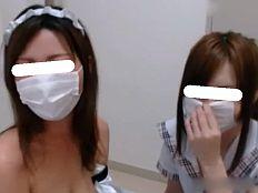 【無】超カワイイ素人娘2人組とメイド姿で超羨ましい生ハメハーレム3P♪||